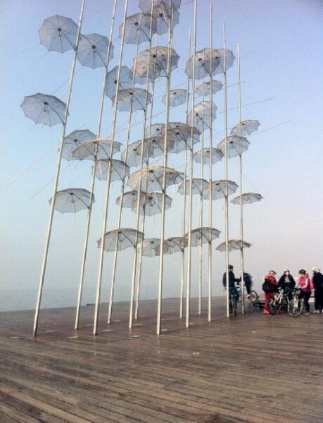 Umbrellas Sculpture by the sea