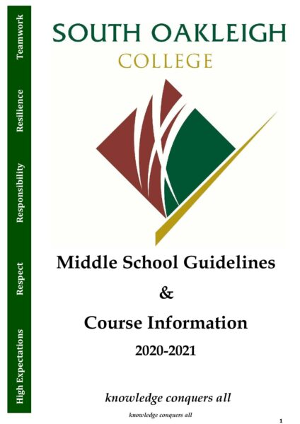Middle School Guidelines & Course Booklet 2021