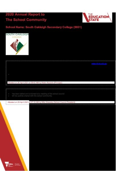 Annual Report to The School Community